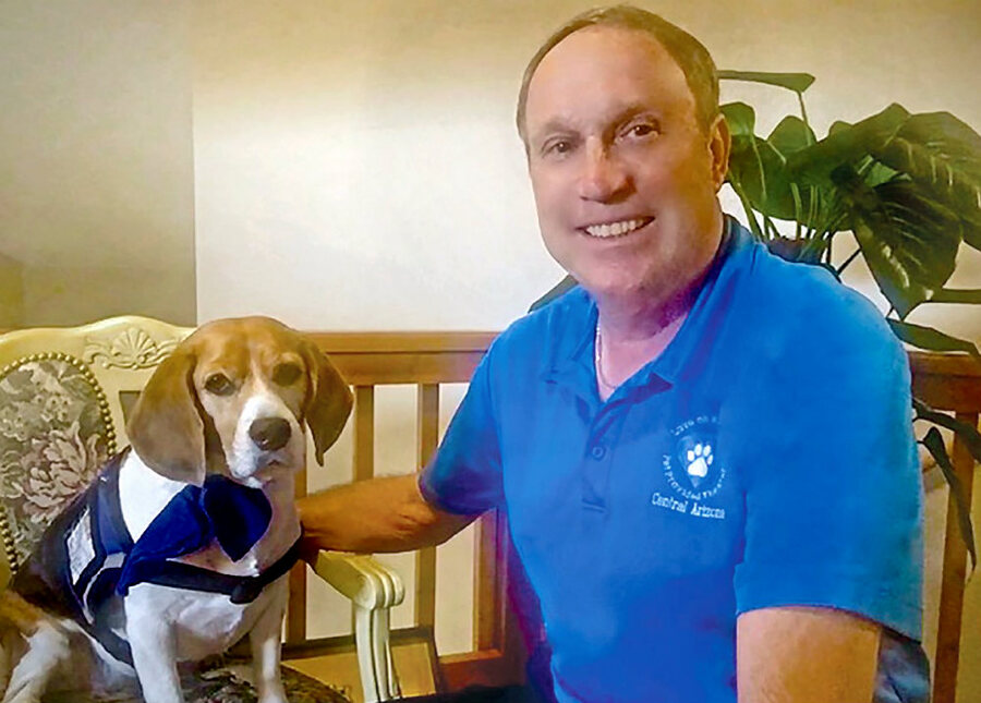 Michael Colombo and this therapy beagle Shiloh.